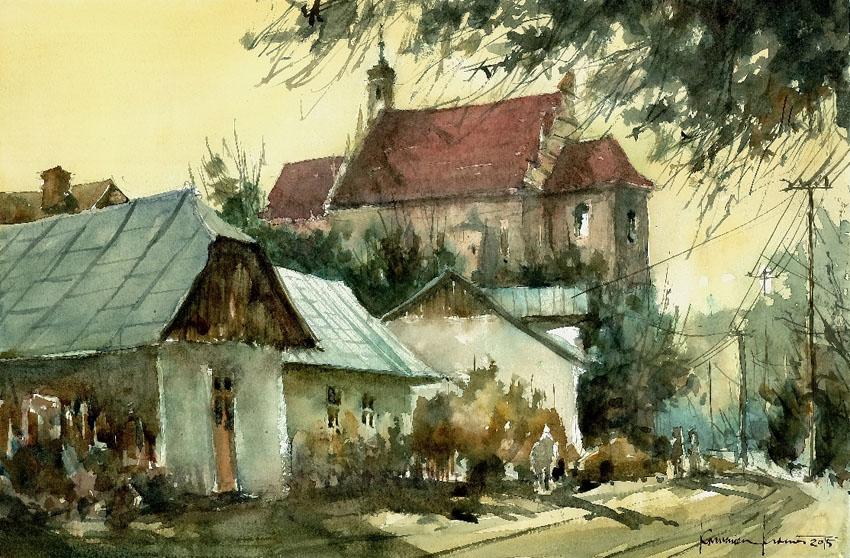 Ulica Zamkowa z widokiem na farę w Kazimierzu Dolnym